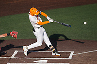 Tennessee Volunteers third baseman Jake Rucker (7) at bat against the Arkansas Razorbacks on May 14, 2021, on Robert M. Lindsay Field at Lindsey Nelson Stadium in Knoxville, Tennessee. (Danny Parker/Four Seam Images)