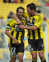 Tim Brown congratulates Phoenix skipper Andrew Durante on his goal during the A-League football match between Wellington Phoenix v Gold Coast United at Westpac Stadium, Wellington, New Zealand on Sunday, 4 March 2012. Photo: Dave Lintott / lintottphoto.co.nz