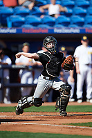 Army West Point catcher Jon Rosoff (7) throws to first base during a game against the Michigan Wolverines on February 18, 2018 at First Data Field in St. Lucie, Florida.  Michigan defeated Army 7-3.  (Mike Janes/Four Seam Images)