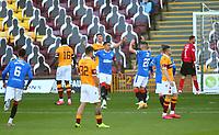 27th September 2020; Fir Park, Motherwell, North Lanarkshire, Scotland; Scottish Premiership Football, Motherwell versus Rangers; James Tavernier of Rangers celebrates making it 1-0 to Rangers in the 12th minute