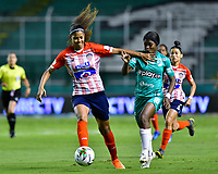 PALMIRA - COLOMBIA, 20-10-2020: Deportivo Cali y Atlético Junior en partido por la fecha 1 de la Liga Femenina BetPlay DIMAYOR 2020 jugado en el estadio Deportivo Cali de la ciudad de Palmira. / Deportivo Cali and Atletico Junior in match for the date 1 as part of Women's BetPlay DIMAYOR League 2020 played at Deportivo Cali stadium in Palmira city.  Photo: VizzorImage / Nelson Rios / Cont