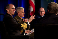 """130131-N-DR144-288 .SAN DIEGO (Jan. 31, 2013) Chief of Naval Operations (CNO) Adm. Jonathan Greenert speaks at a roundtable discussion panel at the Armed Forces Communications and Electronics Association (AFCEA) / U.S. Naval Institute (USNI) West 2013 conference. The panel, hosted by Pete Daly of USNI, discussed the convention's theme, """"Pivot to the Pacific: What are the Practical and Global implications?"""" as well as the potential effects of budget cuts on the military's operations and maintenance activities. (U.S. Navy photo by Mass Communication Specialist 1st Class James R. Evans/Released)."""