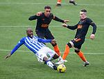 01.11.2020 Kilmarnock v Rangers:  Youssouf Mulumbu with James Tavernier and Ryan Kent