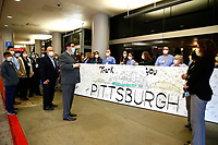In honor of National Nurses Day, Public Safety, including Mayor Bill Peduto, held a procession of approximately 75 vehicles around UPMC Presbyterian and Allegheny General Hospital thanking those first responders on the frontlines on Wednesday May 6, 2020 in Pittsburgh, Pennsylvania. (Photo by Jared Wickerham/Pittsburgh City Paper)