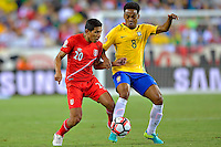 Photo during the match Brasil vs Peru, Corresponding to  Group -B- of the America Cup Centenary 2016 at Gillette Stadium.<br /> <br /> Foto durante al partido Brasil vs Peru, Correspondiente al Grupo -B- de la Copa America Centenario 2016 en el Estadio Gillette en la foto: (i-d)Edison Flores y Elias<br /> <br /> <br /> 12/06/2016/MEXSPORT/ISAAC ORTIZ