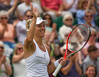 London, England, 4th July, 2016, Tennis, Wimbledon, Angelique Kerber (GER) celebrates matchpoint in her match against Misaki Doi (JAP)<br /> Photo: Henk Koster/tennisimages.com