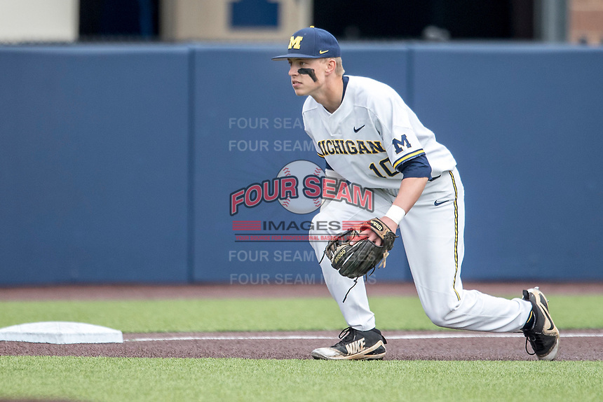 Michigan Wolverines third baseman Blake Nelson (10) on defense against the Maryland Terrapins on April 13, 2018 in a Big Ten NCAA baseball game at Ray Fisher Stadium in Ann Arbor, Michigan. Michigan defeated Maryland 10-4. (Andrew Woolley/Four Seam Images)