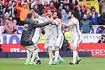 Real Madrid's James Rodriguez, Marco Asensio, Sergio Ramos, Marcelo and Nacho Fernandez celebrating a goal during La Liga match between Real Madrid and Valencia CF at Santiago Bernabeu Stadium in Madrid, April 29, 2017. Spain.<br /> (ALTERPHOTOS/BorjaB.Hojas)