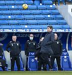 21.02.2021 Rangers v Dundee Utd: Steven Gerrard leaps from the sidelines to head the ball