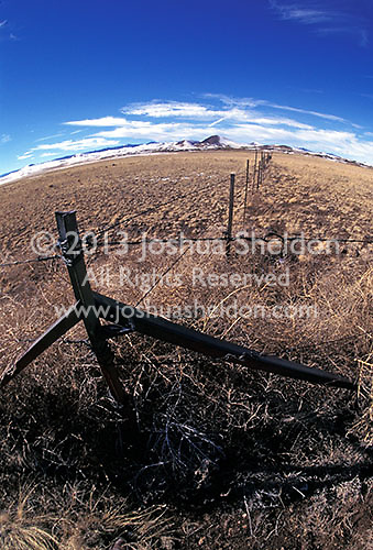 Wide angle view of fence post<br />