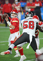 7th February 2021, Tampa Bay, Florida, USA;  Kansas City Chiefs Quarterback Patrick Mahomes (15) looks for an open pass during Super Bowl LV between the Kansas City Chiefs and the Tampa Bay Buccaneers on February 07, 2021, at Raymond James Stadium