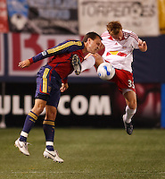 Real Salt Lake midfielder (8) Chris Brown, and New York Red Bulls defender (33) Chris  Leitch battle for the ball. The NY Red Bulls and Real Salt lake played to a 2-2 tie in an MLS regular season match at Giants Stadium, East Rutherford, NJ, on September 29, 2007.