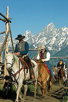 Wrangler leads a trail ride at Triangle X Ranch in Grand Teton National Park