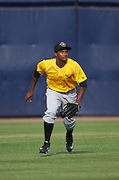 Bradenton Marauders center fielder Pablo Reyes (15) during practice before a game against the Tampa Yankees on April 11, 2016 at George M. Steinbrenner Field in Tampa, Florida.  Tampa defeated Bradenton 5-2.  (Mike Janes/Four Seam Images)