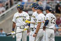 Michigan Wolverines designated hitter Jordan Nwogu (42) waits on deck against the Vanderbilt Commodores during Game 2 of the NCAA College World Series Finals on June 25, 2019 at TD Ameritrade Park in Omaha, Nebraska. Vanderbilt defeated Michigan 4-1. (Andrew Woolley/Four Seam Images)