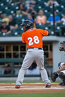 L.J. Hoes (28) of the Norfolk Tides at bat against the Charlotte Knights at BB&T BallPark on April 20, 2016 in Charlotte, North Carolina.  The Knights defeated the Tides 6-3.  (Brian Westerholt/Four Seam Images)