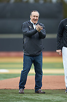 John Zeglinski, 2019 Wake Forest Sports Hall of Fame inductee, claps after watching his grandson throw out a ceremonial first pitch prior to the NCAA baseball game between the Illinois Fighting Illini and the Wake Forest Demon Deacons at David F. Couch Ballpark on February 16, 2019 in  Winston-Salem, North Carolina.  The Fighting Illini defeated the Demon Deacons 5-2. (Brian Westerholt/Four Seam Images)