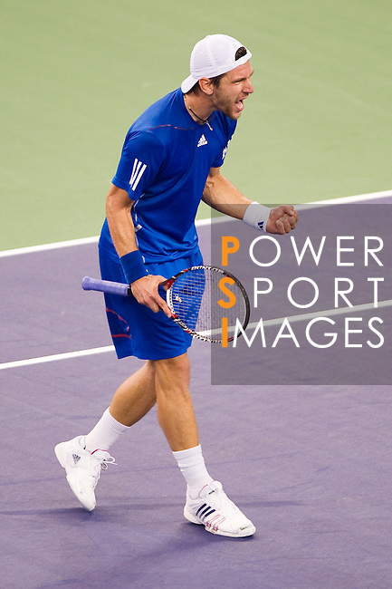 SHANGHAI, CHINA - OCTOBER 14:  Jurgen Melzer of Austria celebrates match point to Rafael Nadal of Spain during day four of the 2010 Shanghai Rolex Masters at the Shanghai Qi Zhong Tennis Center on October 14, 2010 in Shanghai, China.  (Photo by Victor Fraile/The Power of Sport Images) *** Local Caption *** Jurgen Melzer