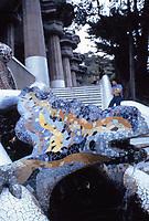 Mosaic lizard at Parc Guell designed by Antoni Guell. Art Nouveau. Barcelona, Spain