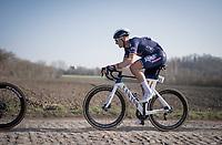 eventual race winner Tim Merlier (BEL/Alpecin-Fenix) flying over the rough cobbles<br /> <br /> 53rd Le Samyn 2021<br /> ME (1.1)<br /> 1 day race from Quaregnon to Dour (BEL/205km)<br /> <br /> ©kramon