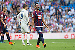 Real Madrid's Alvaro Morata and Eibar's Mauro dos Santos during the match of La Liga between Real Madrid and SD Eibar at Santiago Bernabeu Stadium in Madrid. October 02, 2016. (ALTERPHOTOS/Rodrigo Jimenez)
