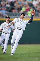 International League All-Star shortstop Erik Gonzalez (11) of the Columbus Clippers catches a fly ball in shallow left field in front of Ben Gamel (6) of the Scranton/Wilkes-Barre RailRiders at the 29th Annual Triple-A All-Star Game at BB&T BallPark on July 13, 2016 in Charlotte, North Carolina.  The International League defeated the Pacific Coast League 4-2.   (Brian Westerholt/Four Seam Images)