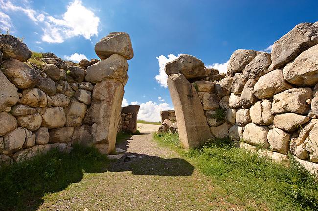 Photo of the Hittite releif sculpture on the Kings gate to the Hittite capital Hattusa 14
