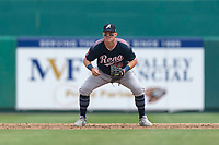 Reno Aces third baseman Kevin Cron (35) during a game against the Fresno Grizzlies at Chukchansi Park on April 8, 2019 in Fresno, California. Fresno defeated Reno 7-6. (Zachary Lucy/Four Seam Images)