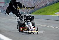 Jun. 19, 2011; Bristol, TN, USA: NHRA top fuel dragster driver Del Worsham during eliminations at the Thunder Valley Nationals at Bristol Dragway. Mandatory Credit: Mark J. Rebilas-