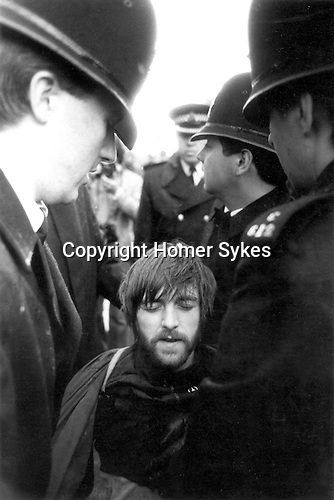 Protester at anti-Falklands war rally. Hyde Park, London, 1982.