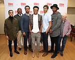 "Nicholas L. Ashe, Chuck Cooper, J. Quinton Johnson, Jeremy Pope, Caleb Eberhardt, John Clay and Austin Pendleton during the MTC Broadway Cast Call for ""Choir Boy"" at The MTC Rehearsal Studios on November 20, 2018 in New York City."