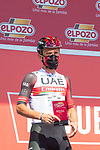 Rafal Majka (POL) UAE Team Emirates most aggressive rider from yesterday's stage at sign on before the start of Stage 16 of La Vuelta d'Espana 2021, running 180km from Laredo to Santa Cruz de Bezana, Spain. 31st August 2021.     <br /> Picture: Cxcling   Cyclefile<br /> <br /> All photos usage must carry mandatory copyright credit (© Cyclefile   Cxcling)