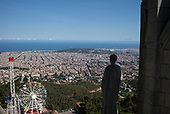 Barcelona, Spain<br /> Catalonia<br /> June 27, 2021<br /> <br /> Views from the Temple Expiatori del Sagrat Cor, a Roman Catholic church and minor basilica located on the summit of Mount Tibidabo. The building is the work of the Spanish architect Enric Sagnier and was completed by his son Josep Maria Sagnier i Vidal.