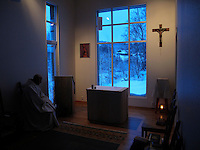 "Brother Cyril do early morning prayer. The new Munkeby Mariakloster - kloster is Norwegian for monastery . The four founding French monks will establish their discrete presence as a contemplative monastery according to the Rule of Saint Benedict, written in the 6th century. Brother Joel (55) & Cîteaux's Prior, brothers Arnaud (31), Bruno (33) and Cyril (81), have all chosen to be part of the founding community, despite Norway's rude climate and winter darkness at latitude 63º N, not far from the arctic circle.Munkeby, the ""place of the monks"" was the third and northernmost Norwegian monastery established by the Cistercians in the 12th century"