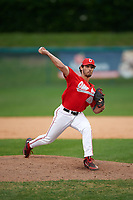 Ohio State Buckeyes relief pitcher Yianni Pavlopoulos (28) delivers a pitch during a game against the Niagara University Purple Eagles on February 20, 2016 at Holman Stadium at Historic Dodgertown in Vero Beach, Florida.  Ohio State defeated Niagara 10-7.  (Mike Janes/Four Seam Images)