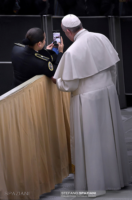 Pope Francis during his weekly general audience at the Paul VI hall at the Vatican,21 december 2016