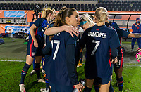 BREDA, NETHERLANDS - NOVEMBER 27: Tobin Heath #17 of the USWNT huddles with the team before a game between Netherlands and USWNT at Rat Verlegh Stadion on November 27, 2020 in Breda, Netherlands.