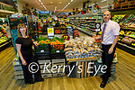 Siobhan Hayes and David Moore (Manager of Fruit and Veg) at the local produce display in Garveys Supervalu Castleisland