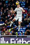 Marcos Llorente of Real Madrid heads the ball during the La Liga 2018-19 match between Real Madrid and Rayo Vallencano at Estadio Santiago Bernabeu on December 15 2018 in Madrid, Spain. Photo by Diego Souto / Power Sport Images