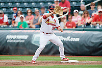 Springfield Cardinals first baseman Casey Grayson (38) waits to receive a throw during a game against the San Antonio Missions on June 4, 2017 at Hammons Field in Springfield, Missouri.  San Antonio defeated Springfield 6-1.  (Mike Janes/Four Seam Images)