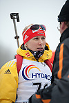 MARTELL-VAL MARTELLO, ITALY - FEBRUARY 02: HORCHLER Karolin (GER) before the flower ceremony after the Women 7.5 km Sprint at the IBU Cup Biathlon 6 on February 02, 2013 in Martell-Val Martello, Italy. (Photo by Dirk Markgraf)