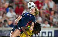 HOUSTON, TX - JUNE 13: Lindsey Horan #9 of the United States gets her head on the ball during a game between Jamaica and USWNT at BBVA Stadium on June 13, 2021 in Houston, Texas.