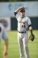 Seamus Curran (34) of the Delmarva Shorebirds warms up prior to game one of the Northern Division, South Atlantic League Playoffs against the Hickory Crawdads at L.P. Frans Stadium on September 4, 2019 in Hickory, North Carolina. The Crawdads defeated the Shorebirds 4-3 to take a 1-0 lead in the series. (Tracy Proffitt/Four Seam Images)