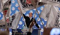 Il leader del Popolo della Liberta' Silvio Berlusconi tiene un comizio elettorale a Roma, 7 febbraio 2013..Italian center-right People of Freedom party's leader Silvio Berlusconi attends an electoral meeting in Rome, 7 February 2013..UPDATE IMAGES PRESS/Isabella Bonotto