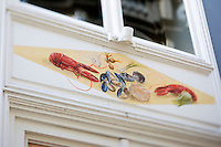Europe/Belgique/Flandre/Flandre Occidentale/Bruges: Centre historique classé Patrimoine Mondial de l'UNESCO,  Peinture murale d'un restaurant du Centre Historique //  Belgium, Western Flanders, Bruges, historical centre listed as World Heritage by UNESCO, <br /> Mural of a restaurant in Old Town