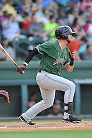 Third baseman T.J. Bennett (15) of the Augusta GreenJackets bats in a game against the Greenville Drive on Thursday, June 9, 2016, at Fluor Field at the West End in Greenville, South Carolina. Augusta won, 8-2. (Tom Priddy/Four Seam Images)
