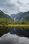 Reflections in Peters Pool near Franz Josef Glacier on the west coast of the south island of New Zealand