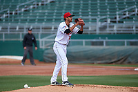 Lansing Lugnuts relief pitcher Cobi Johnson (21) during a Midwest League game against the Wisconsin Timber Rattlers at Cooley Law School Stadium on May 1, 2019 in Lansing, Michigan. Wisconsin defeated Lansing 8-3 after the game was suspended from the previous night. (Zachary Lucy/Four Seam Images)