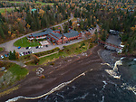 View of Lutsen Lodge and surrounding area in fall done from a drone.