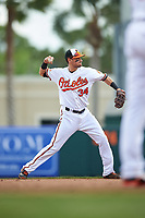 Baltimore Orioles shortstop Paul Janish (34) throws to first base during a Spring Training exhibition game against the Dominican Republic on March 7, 2017 at Ed Smith Stadium in Sarasota, Florida.  Baltimore defeated the Dominican Republic 5-4.  (Mike Janes/Four Seam Images)